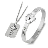 Heart Lock & Key Set Stainless Steel Bangle Necklace Jewelry Set