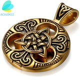 Gold Stainless Steel Necklace -  Ethnic Celtic Knot