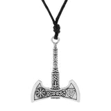 Viking Valknut And Vegvisir Compass Axe Pendant Necklace