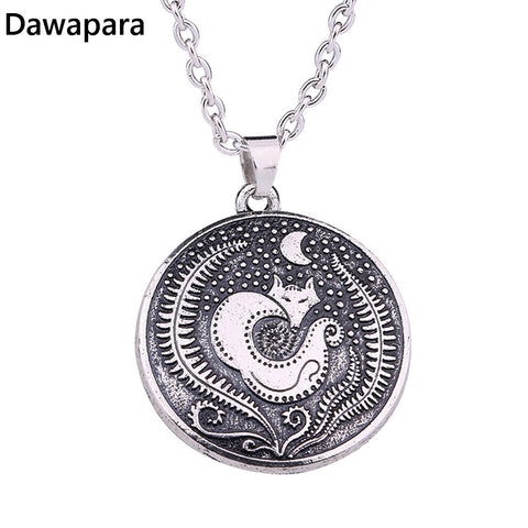Dawapara Vinking Fox Moon pendant&necklace Supernatural Norse Viking Necklace For Men Talisman Original jewelry