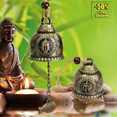 KiWarm On Sale Buddha Statue Pattern Bell Blessing Feng Shui Wind Chime for Good Luck Fortune Home Car Hanging Decor Gift Crafts