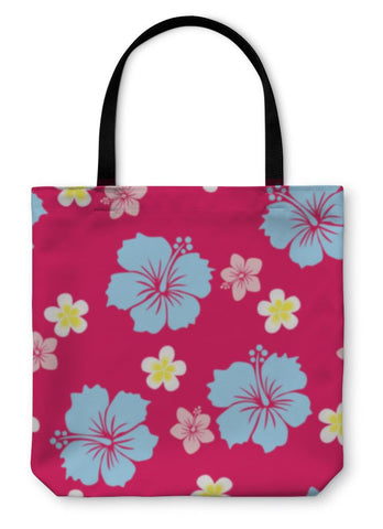 Tote Bag, Hibiscus Pattern