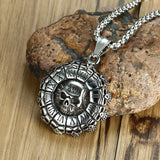 HNSP Punk Stainless Steel Chain Skull Pendant Necklace For Men Male