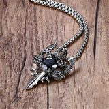 Modyle 2019 New Rock Punk Sword Dragon Bat Link Chain Necklaces for Men Punk Rock Stainless Steel Necklace