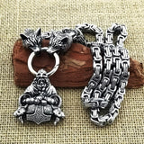 Men domineering stainless steel wolf head necklace with Nordic Viking Thor hammer pendant hanging Viking king chain