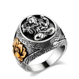 MetJakt Buddha Elephant Lucky Ring with Lotus Solid Authentic 100% 925 Sterling Silver Rings for Unisex Vintage Punk Jewelry