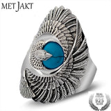 MetJakt Punk Rock 925 Sterling Silver Ring with Natural Turquoise Hand Carved Eagle Wings Rings for Unisex Thai Silver Jewelry