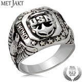 MetJakt Punk Rock US Navy Men's Rings & Hand Carved USN and Eagle Pattern Solid 925 Sterling Silver Vintage Cool Men Jewelry