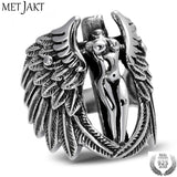 MetJakt Vintage Holy Headless Guardian Angel Ring Solid 925 Sterling Silver Ring for Men Punk Rock Thai Silver Jewelry