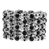 YACQ Skull Skeleton Stretch Cuff Bracelet f