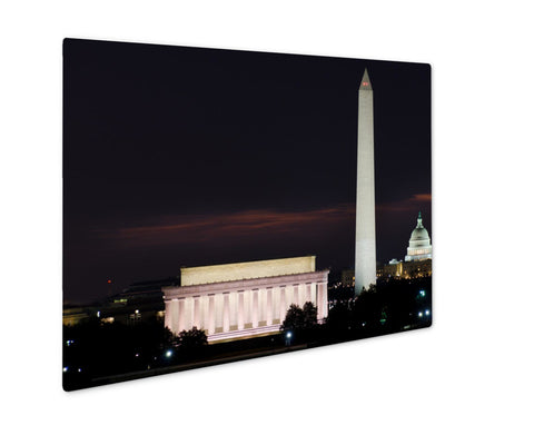 Metal Panel Print, Washington Dc National Mall Sunrise Including Lincoln Memorial