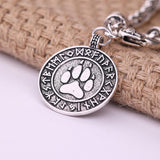my shape Dog Paw Pendant Norse Runes Viking Jewelry Talisman for Mens Bracelets Slavic Pawprint Women Fashion Bangles