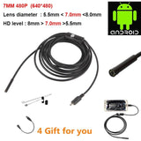 Waterproof HD 5M/7mm Endoscope Lens Mini USB Inspection Camera with 6 LED Lights Borescope for Android Smartphone/PC/