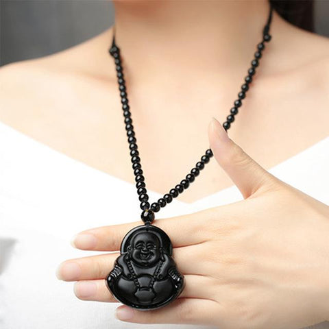 Buddhist Black Obsidian Necklace