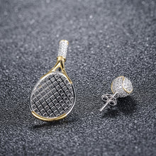 Womens Ladies Tennis Racquet & Ball Design Asymmetric Earrings Ladies Girls Tennis Fashion Jewelry Tennis Gifts