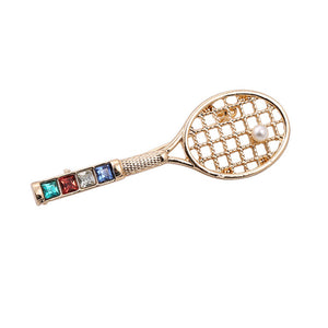 Tennis Ball & Racquet Brooch / Pin; Fashion Ladies Jewelry with Pearl Tennis Ball