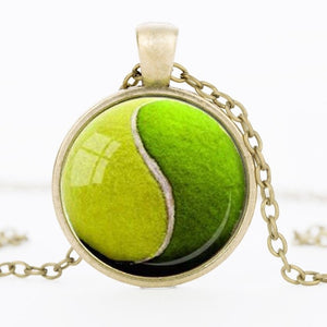 TENNIS Ball Pendant Tennis Lover Gift Necklace Green Sports Mens Womens Girls Jewelry