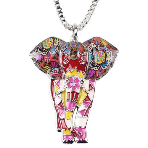 Enamel Jungel Elephant Pendant Necklace