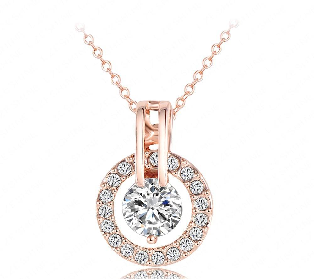 Rose Gold Color Necklace and Earring Set