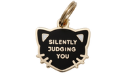 Pet ID Tag - Cat Silently Judging You - Black