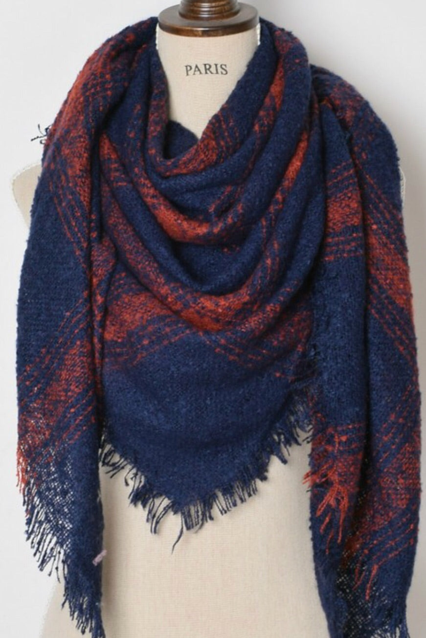 Blanket Scarf - Navy and Brick