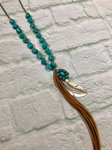 Feather Turquoise Mix Necklace Set