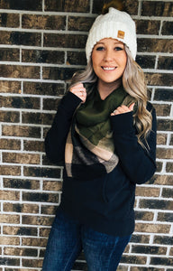 Olive and Black Blanket Scarf