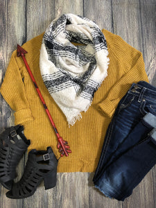Blanket Scarf - Cream and Black
