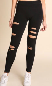 Black Distressed Leggings