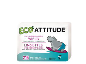 Attitude Baby Wipes 100% Biodegradable Refill, 216 Wipes