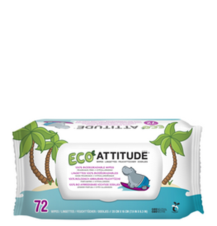 Attitude Baby Wipes 100% Biodegradable, 72 Wipes