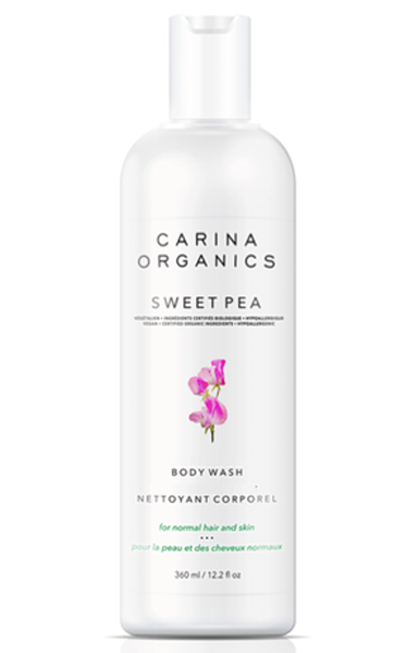 Carina Organics Sweet Pea Daily Moisturizing Body Wash, 360 ml