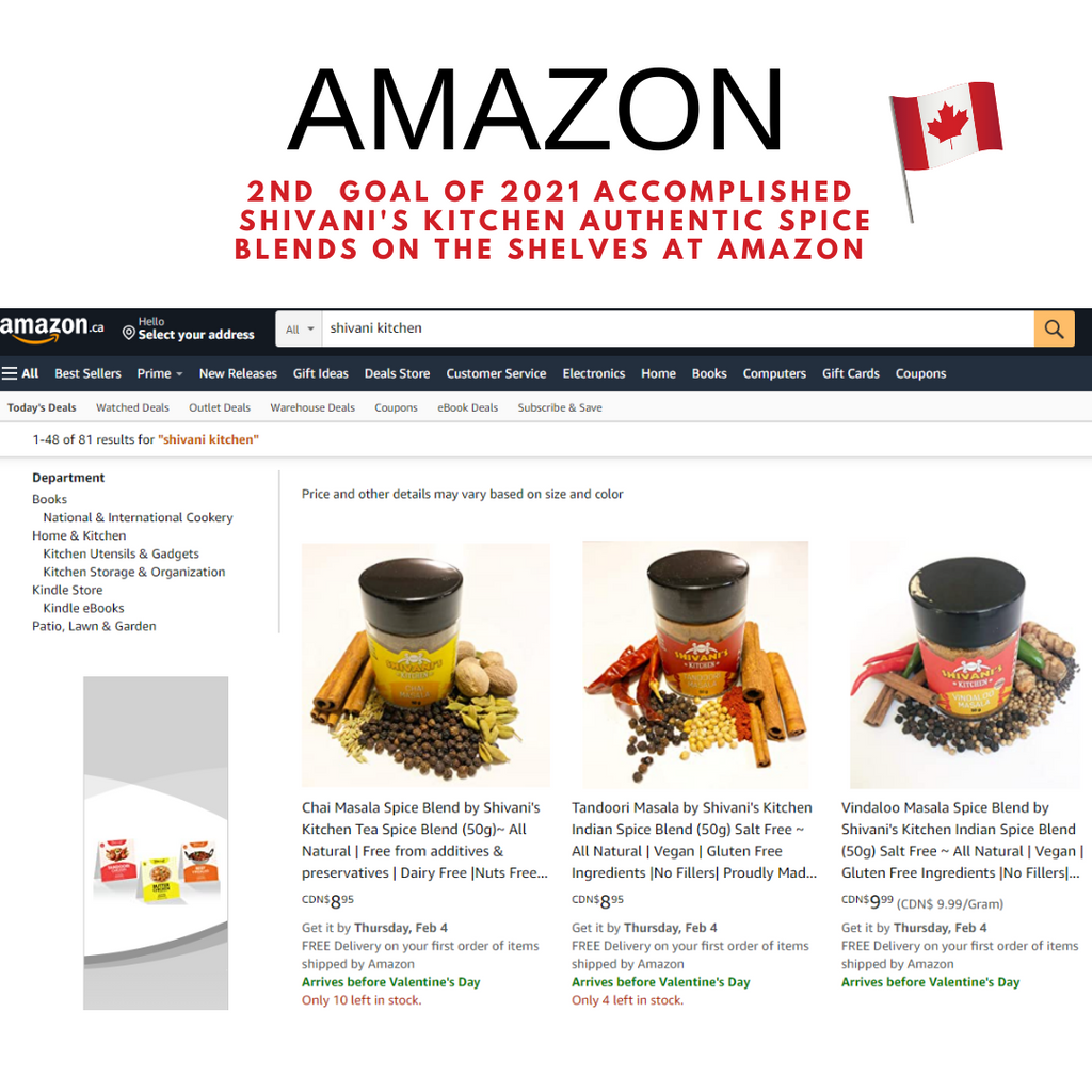 Shivani's Kitchen Spice Blends enter AMAZON Marketplace