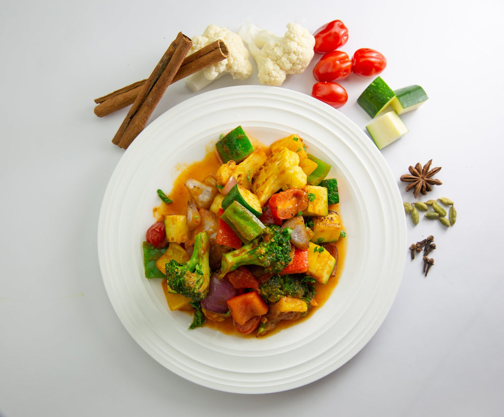 Amazing creamy sweet and savory vegetable meal with Shivani's Kitchen curry masala spices!