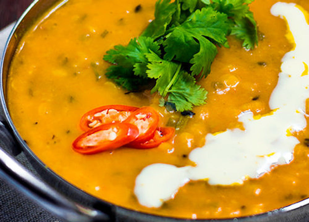 Garlic flavoured Dal with Shivani's Curry Masala and Garam Masala Spices