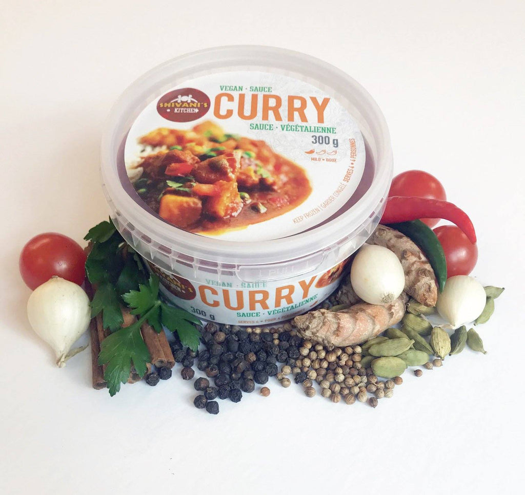 Curry - a complex combination of spices, herbs, onions, tomatoes, ginger and garlic- all to make a completely delicious vegan dish for you.  Add any vegetable or protein and serve with a side of rice. So delicious!   All our Ready to Use Sauces are vegan, salt-free and gluten-free!  We use fresh ingredients from our local farmers.    Proudly Made in Nova Scotia, Canada!