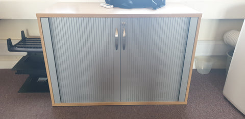 Desk high tambour, oak coloured carcass, silver doors Bedford