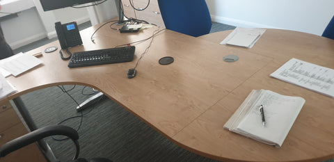 Left hand corner desk with oak finish Bedford