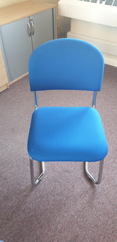 Blue meeting room chairs with chrome base Bedford