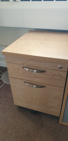 Mobile pedestal oak coloured lockable Bedford