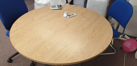 Oak circular meeting room table Bedford