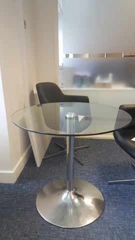 Circular Glass Meeting Table Clear