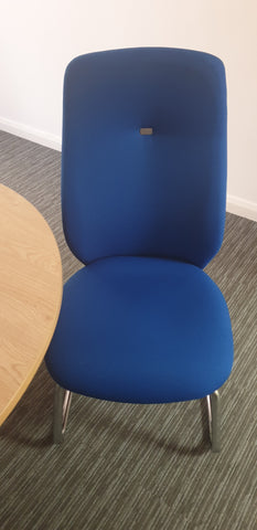 Blue meeting chair with tall back Bedford