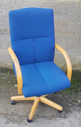 Task Chair with Blue Fabric Upholstery and Wooden Frame