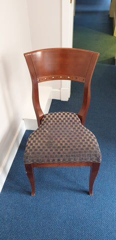 Dining style chair no arms blue chequered seat