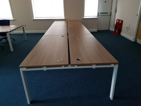 Cluster of 6 Cherry MFC Bench Desks, Excellent Condition