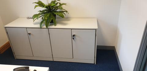 Large 4 Door Off White Cabinet Lockable with Shelf