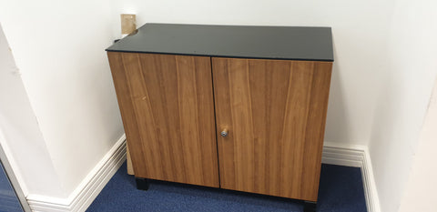 BENE DESK HIGH 2 DOOR WALNUT CABINET LOCKABLE with glass top