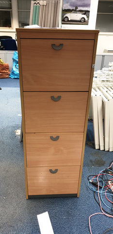 Beech and Grey 4 Drawer Filing Cabinet
