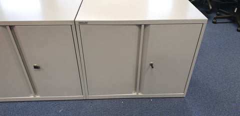 BISLEY Double Door Desk High Cabinet Silver